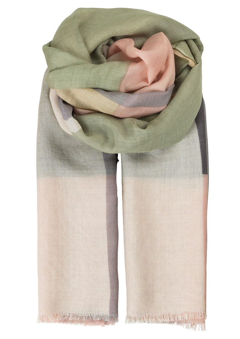 V-Anan Wool Mix Scarf - Pale Green main image