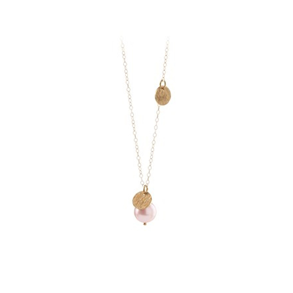 Fresh Water Rose Coin Necklace - Gold