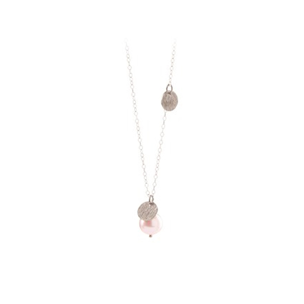 Fresh Water Rose Coin Necklace - Silver