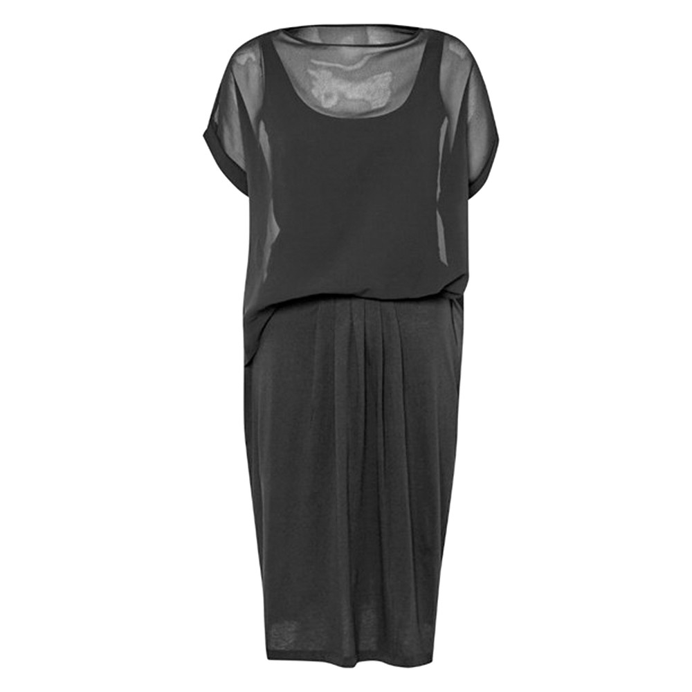 Featherweight Jersey Mix Dress - Black
