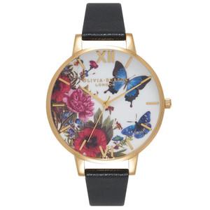 Enchanted Garden Butterflies Watch - Black & Gold