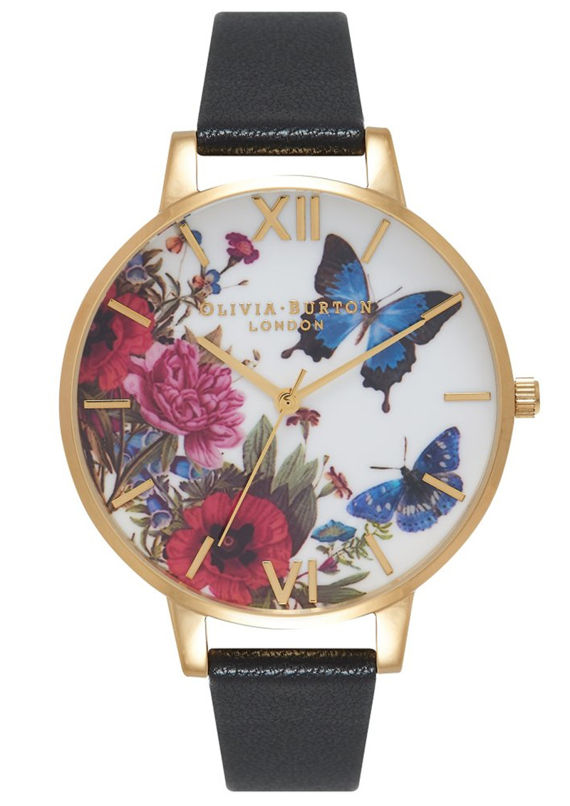 Olivia Burton Enchanted Garden Butterflies Watch - Black & Gold main image