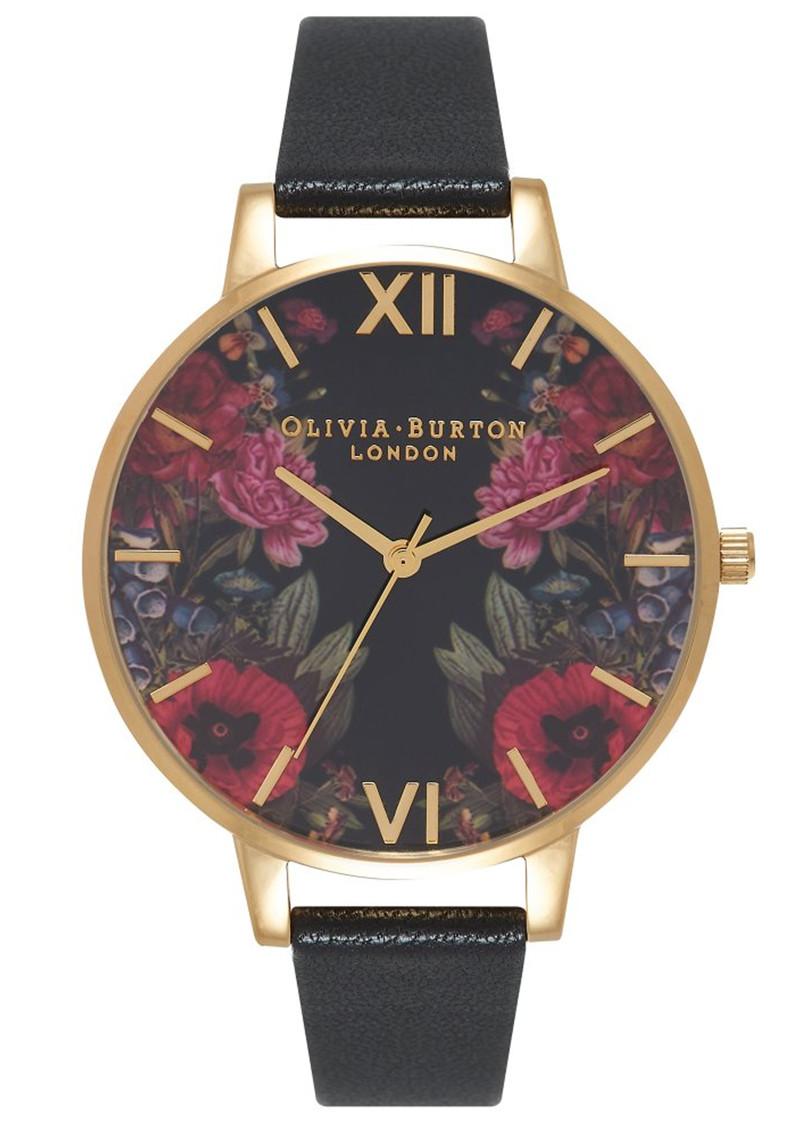 Olivia Burton Enchanted Garden Mirror Watch - Black & Gold main image