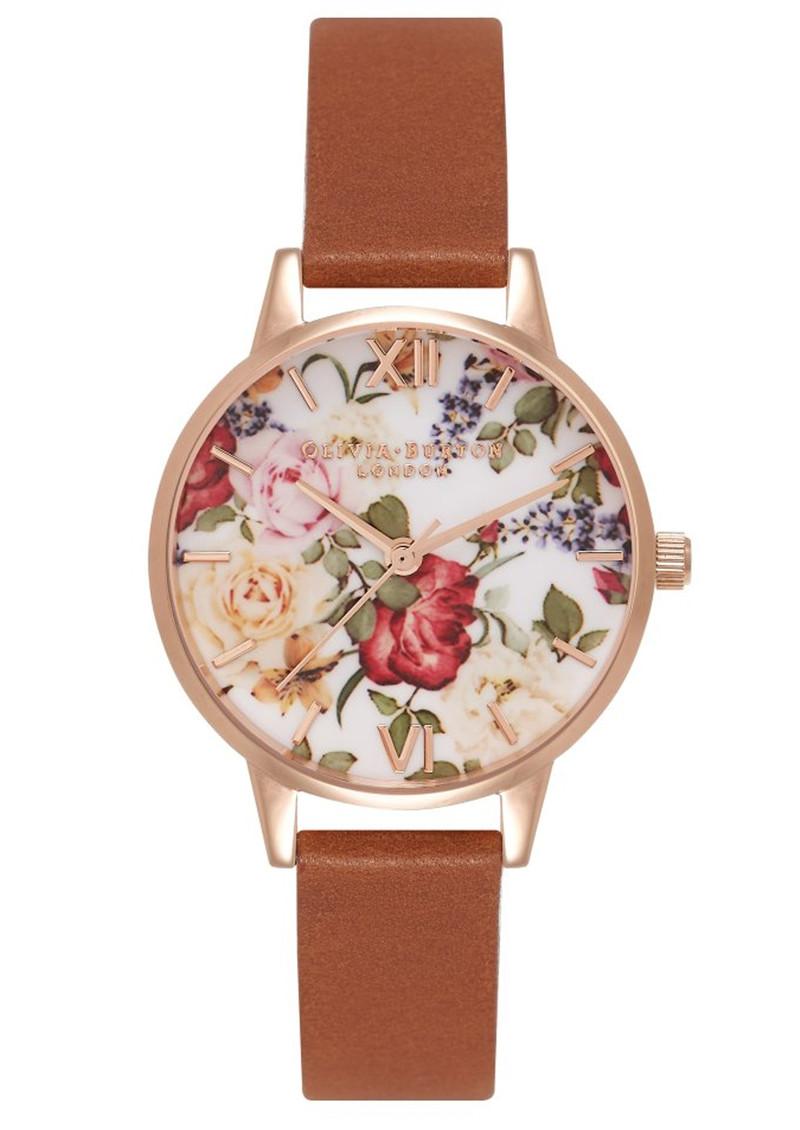 Olivia Burton Enchanted Garden Floral Midi Watch - Tan & Rose Gold main image
