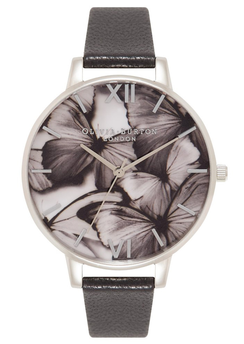 Olivia Burton Woodland Butterfly Watch - Black & Silver main image