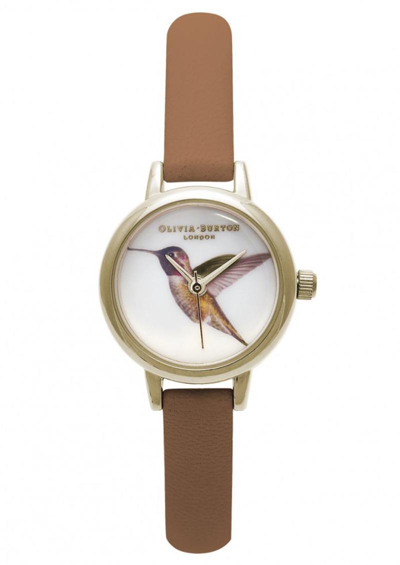 Olivia Burton Mini Hummingbird Watch - Tan & Gold main image