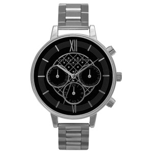Chrono Black Dial Bracelet Watch - Silver
