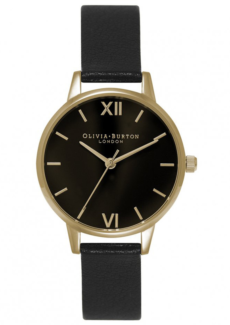 Olivia Burton Midi Dial Black Dial Watch - Black & Gold main image
