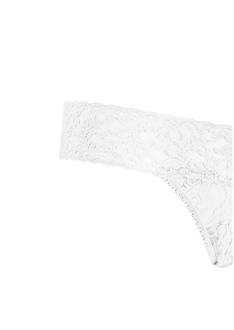 Signature Rolled Lace Thong - White main image