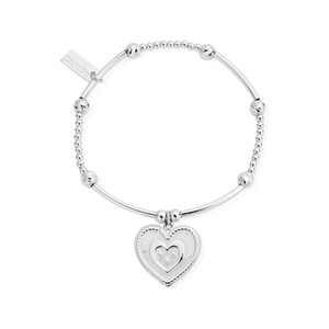 Love Always Wins Cute Mini Sparkle Heart in Heart Bracelet - Silver