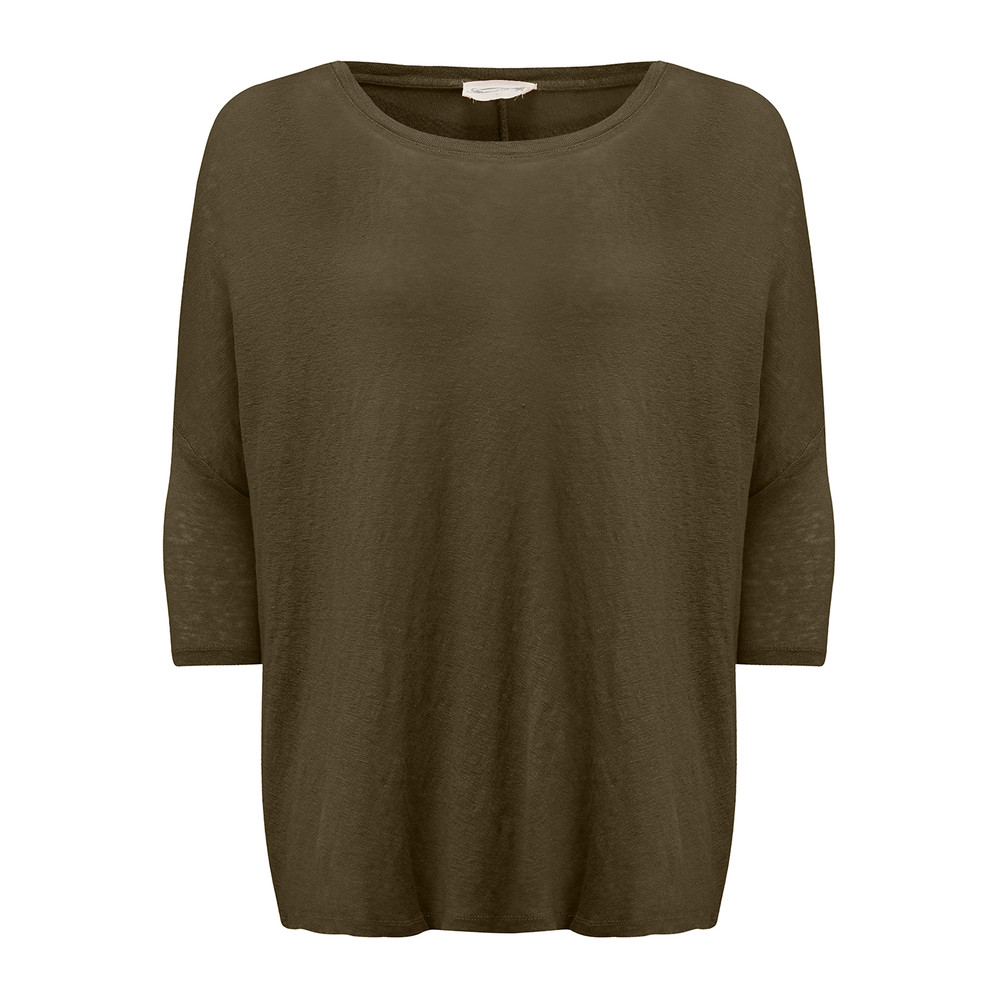 Dearborn Linen Boat Neck Tee - Military