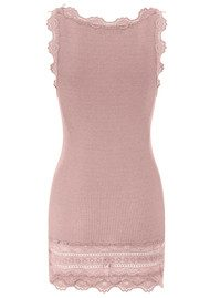 Rosemunde Wide Lace Silk Blend Tank - Vintage Powder