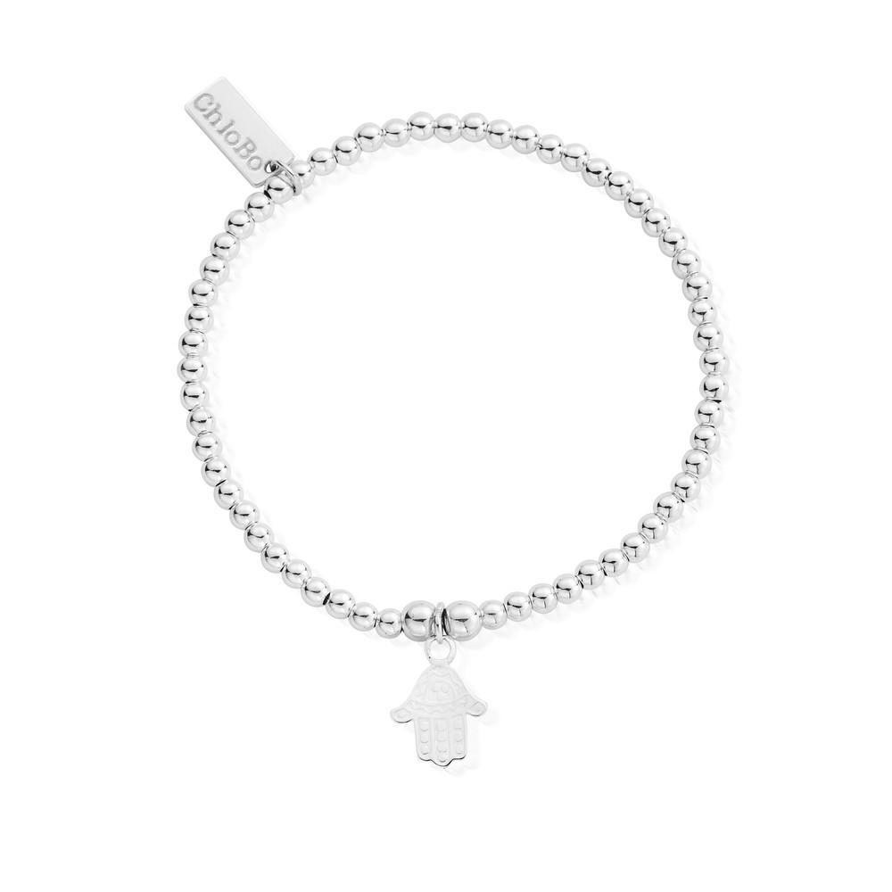 Cute Charm Bracelet with Hamsa Hand Charm - Silver