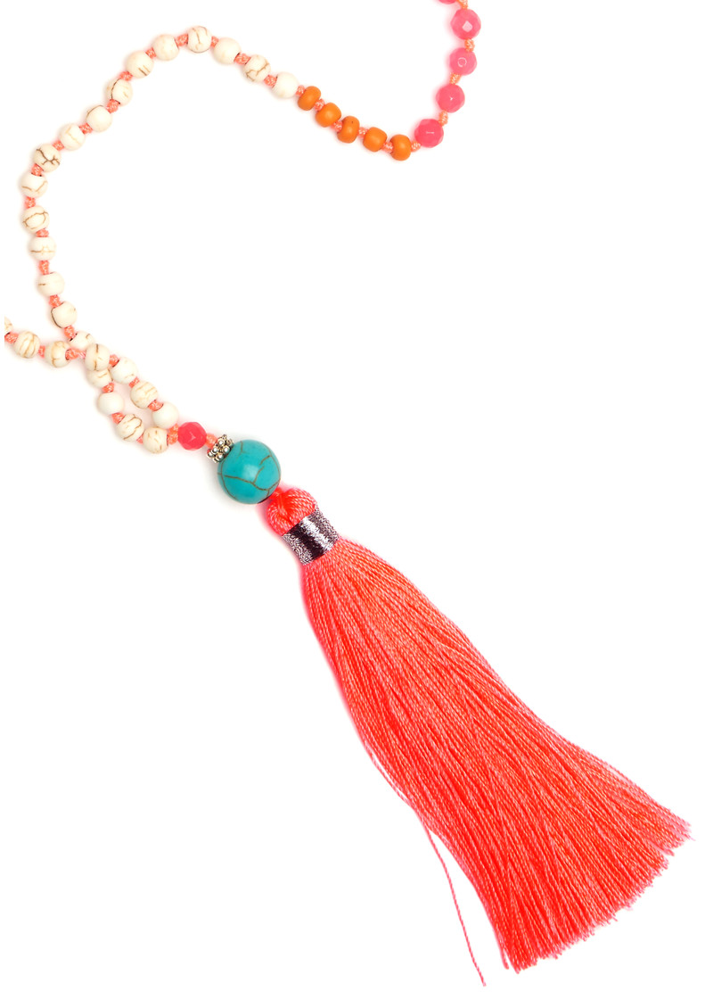 TRIBE + FABLE Single Tassel Necklace - Coral & Pink main image