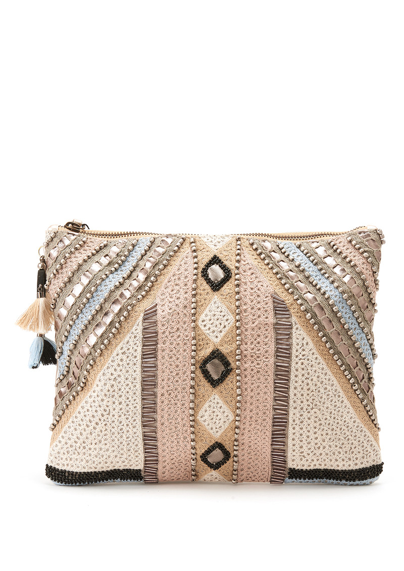 Blank Alesia Beaded Clutch - Lavender Grey main image