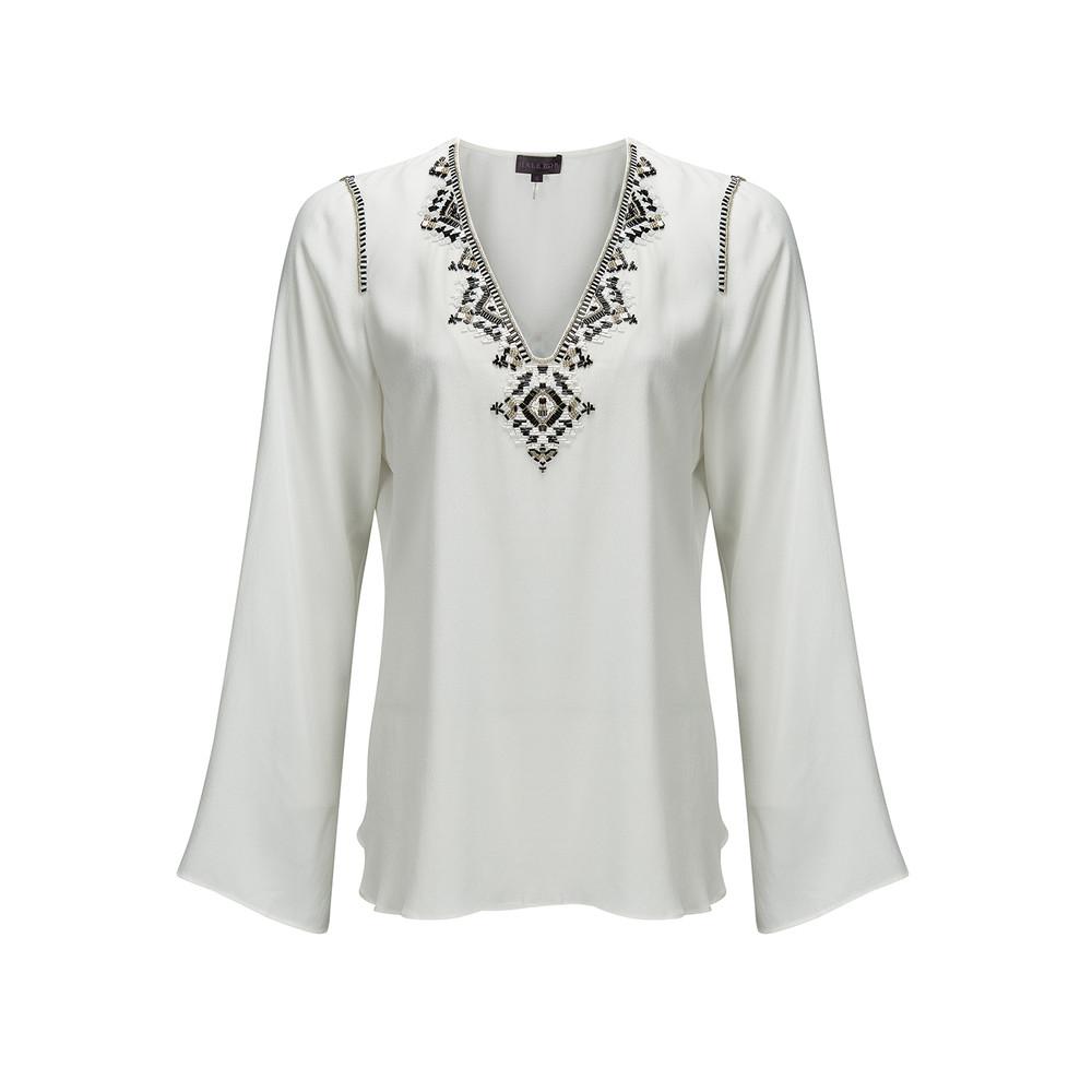 Yanira Embellished Crepe Top - Ivory