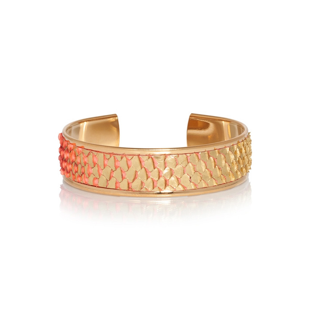 Hopi Python Cuff - Gold & Coral