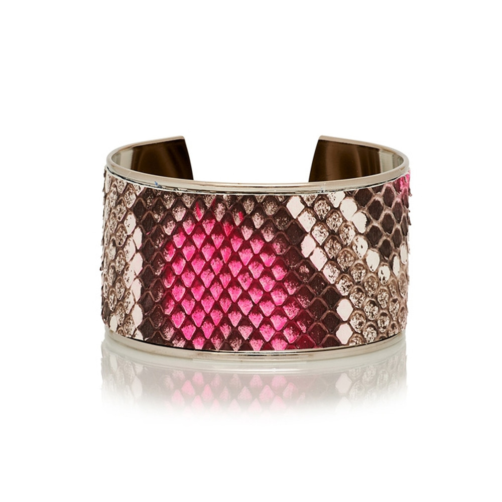 Navajo Python Bleached Cuff - Fluo Pink