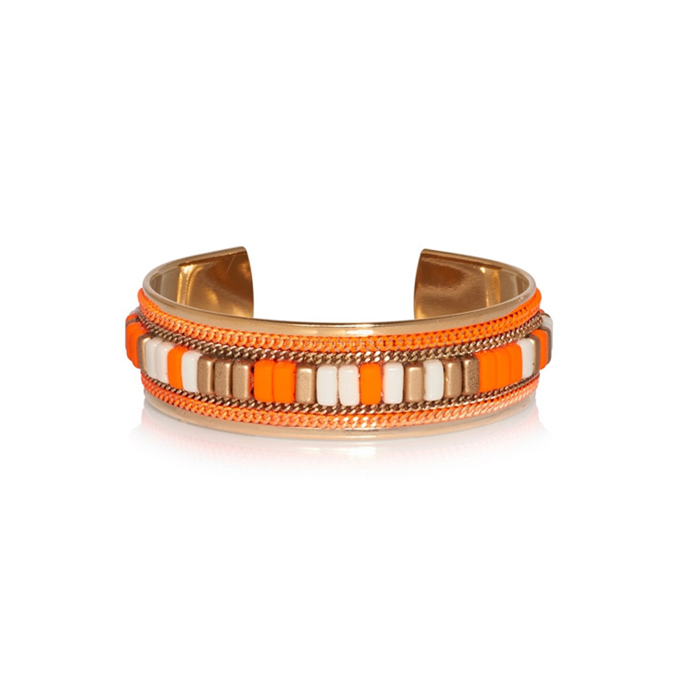 Cheyenne Beaded Cuff - Fluo Orange