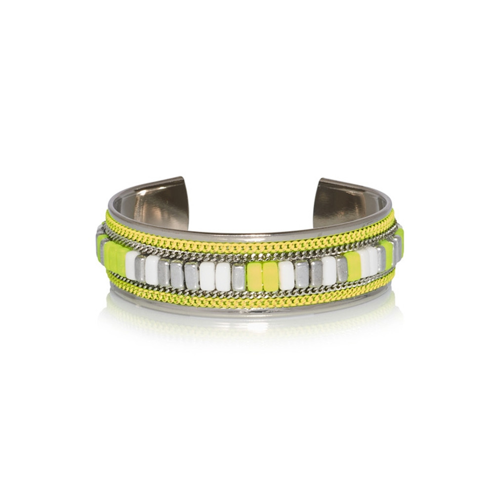 Cheyenne Beaded Cuff - Fluo Yellow