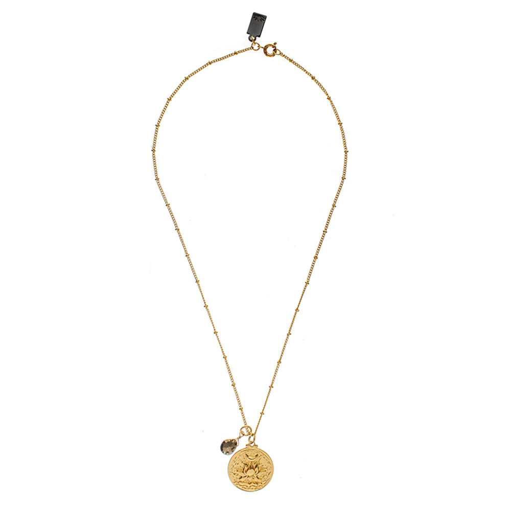 Flowering Lotus Flower Necklace - Gold