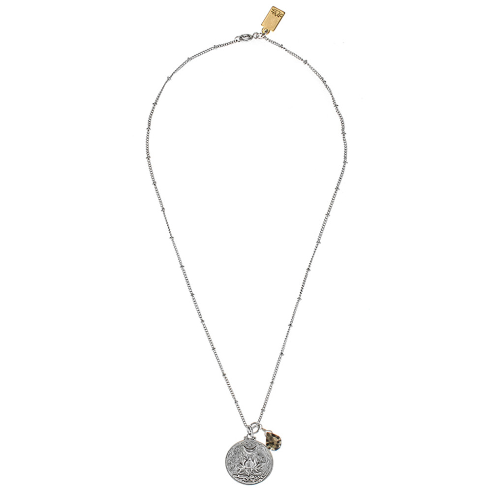 Flowering Lotus Flower Necklace - Silver