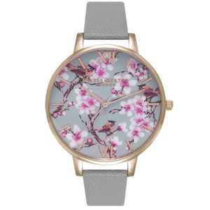 Painterly Prints Blossom Birds Floral Watch - Grey & Rose Gold