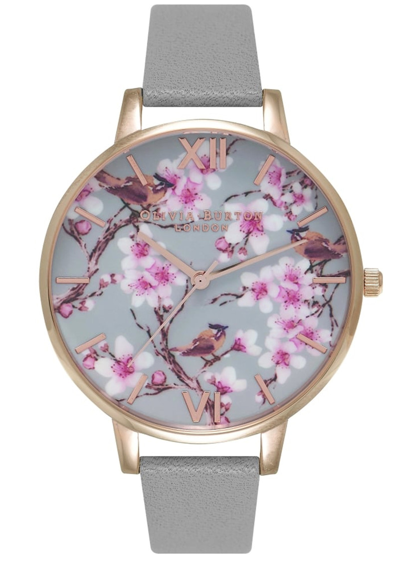 Olivia Burton Painterly Prints Blossom Birds Floral Watch - Grey & Rose Gold  main image