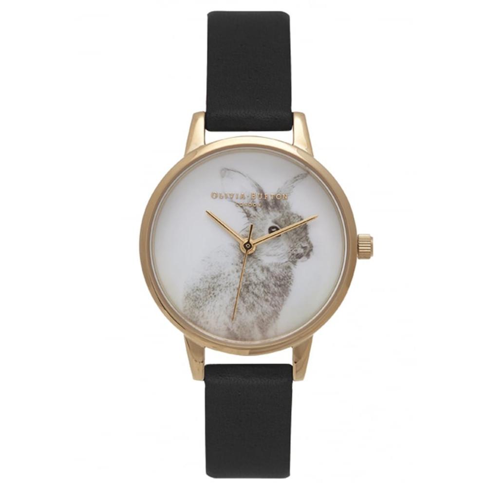 Woodland Bunny Vegan Friendly Watch - Black & Gold