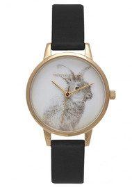 Olivia Burton Woodland Bunny Vegan Friendly Watch - Black & Gold
