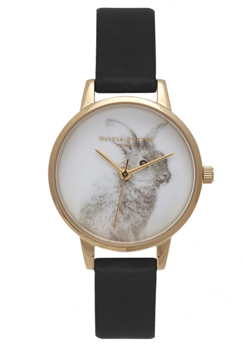 Woodland Bunny Vegan Friendly Watch - Black & Gold main image