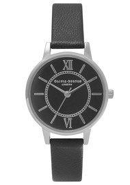Olivia Burton Wonderland Black Dial Watch - Black & Silver