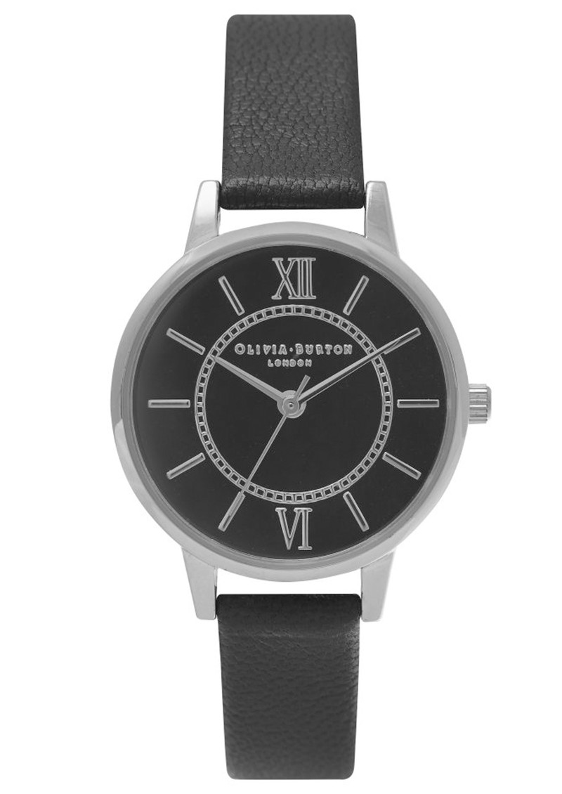 Olivia Burton Wonderland Black Dial Watch - Black & Silver main image