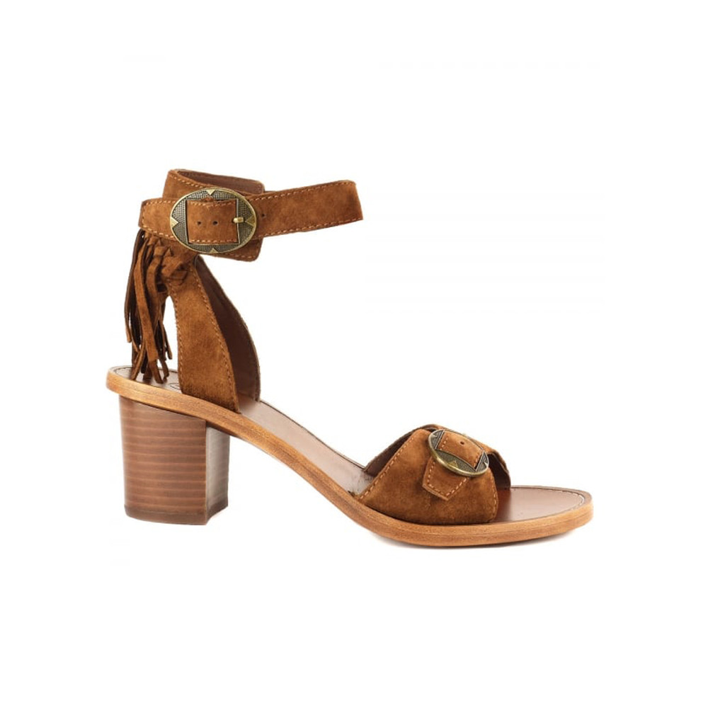 Pepper Fringe Suede Sandals - Sigaro
