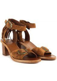 Ash Pepper Fringe Suede Sandals - Sigaro