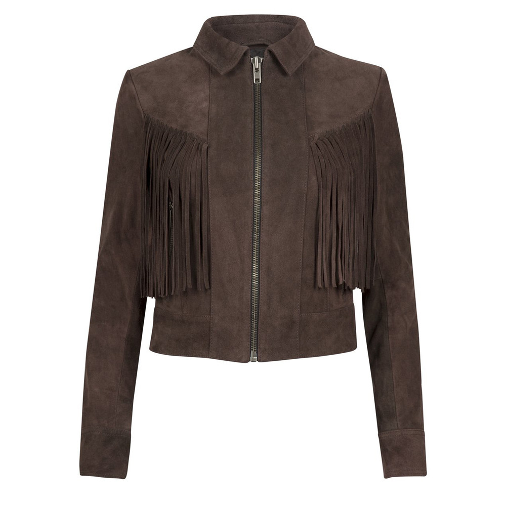 Vaughan Fringe Suede Jacket - Bitter Chocolate