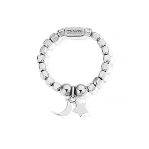 Luna Soul Mini Cube Moon & Stars Ring - Silver