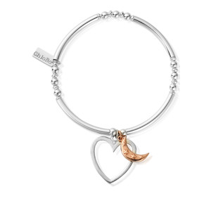 Luna Soul Noodle Ball Disc Open Heart & Star Moon Bracelet - Silver