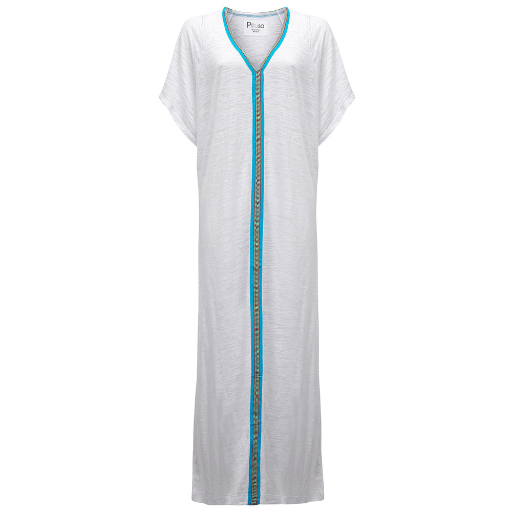 Abaya Dress - Blue & White