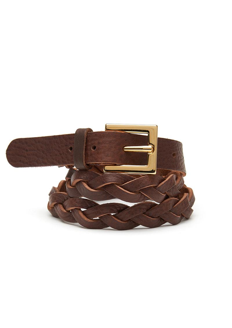 black brown plaited belt brown