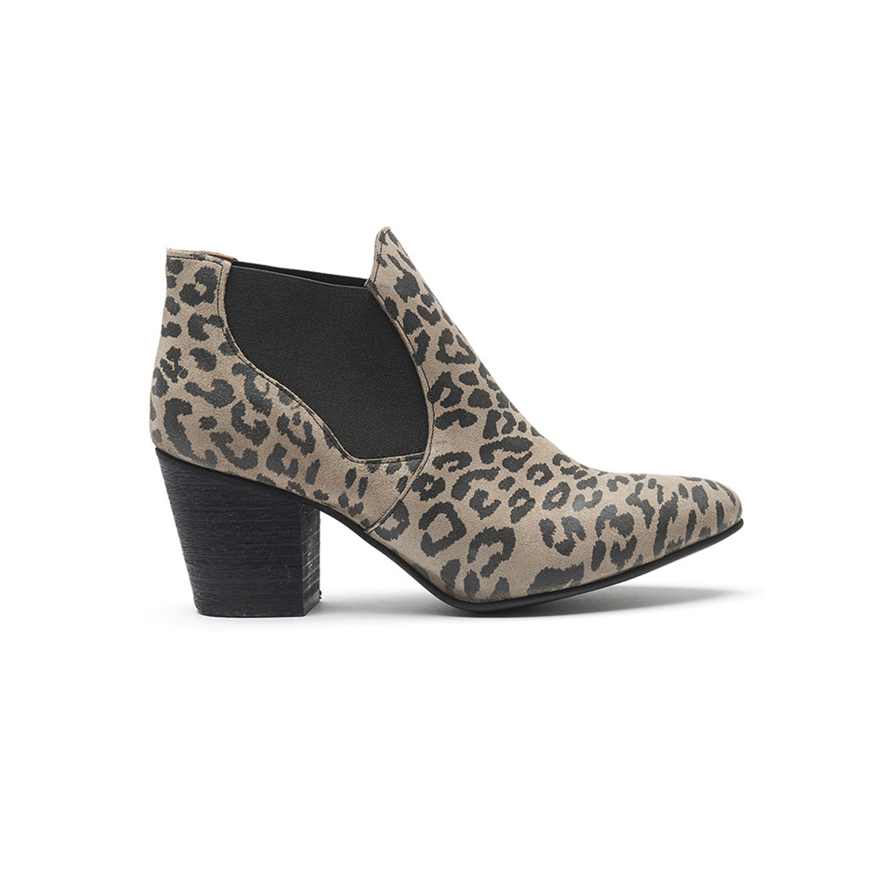 Celine Suede Boot - Leopard Taupe