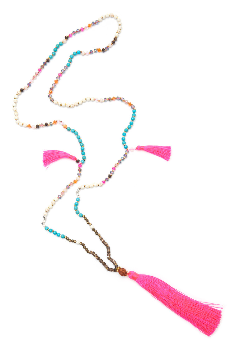TRIBE + FABLE Dewi Tassel Necklace - Hot Pink & Turquoise main image