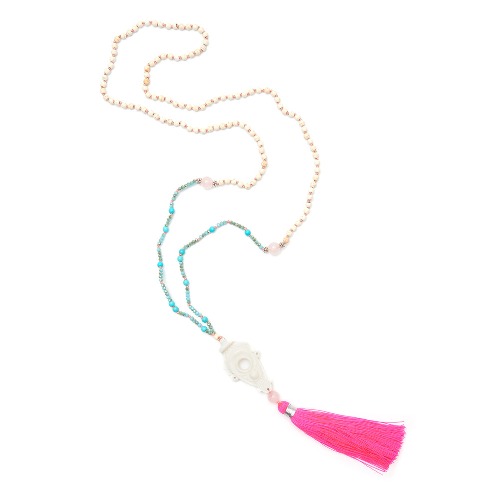Talis Tassel Necklace - Hot Pink & Turquoise