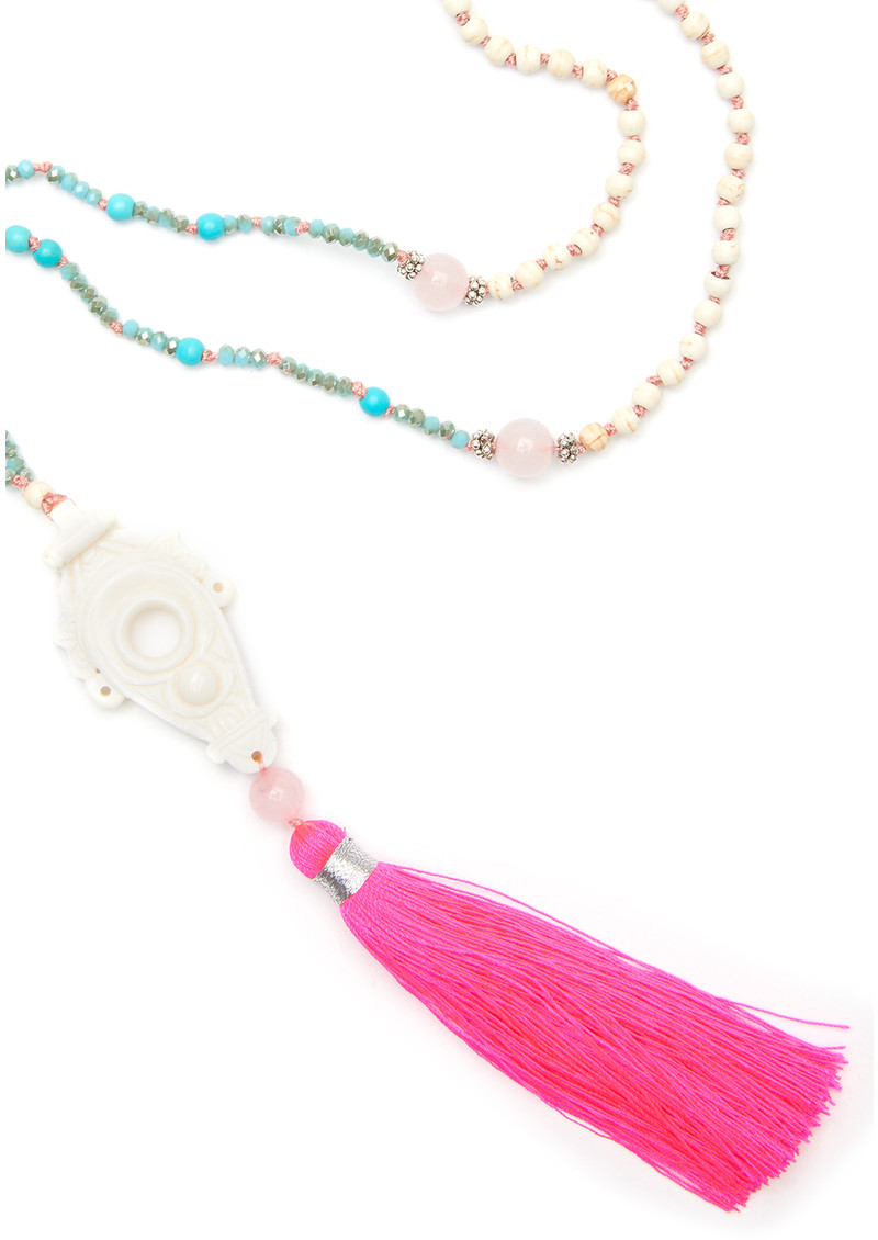 TRIBE + FABLE Talis Tassel Necklace - Hot Pink & Turquoise main image