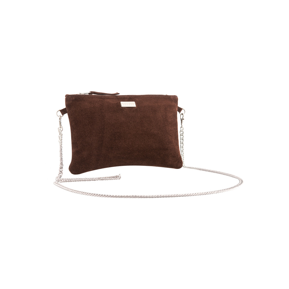 Lyla Suede Clutch - Brown