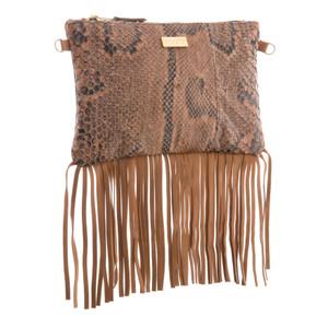 Lyla Snakeskin Fringe Bag - Natural