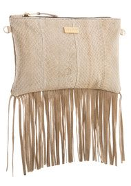 Black & Brown  Lyla Snakeskin Fringe Bag - Cream