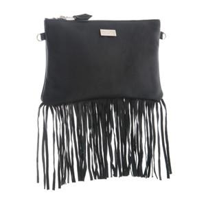 Lyla Leather Fringe Bag - Black