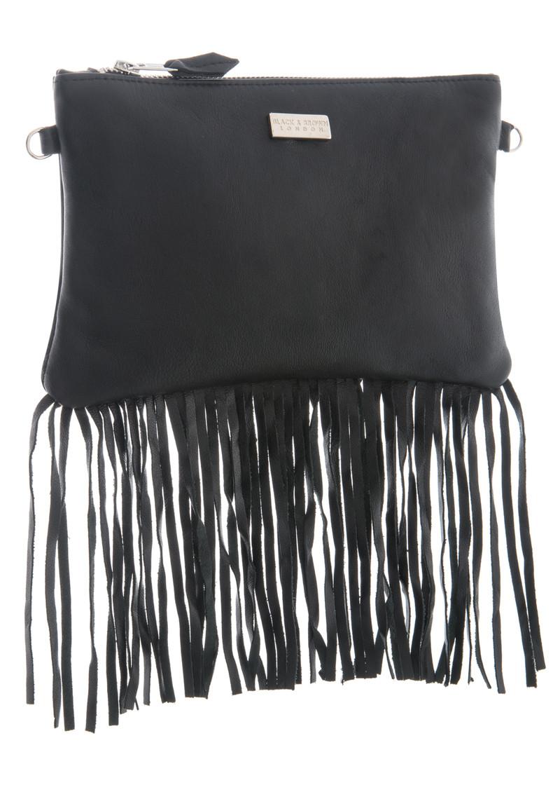 Black & Brown  Lyla Leather Fringe Bag - Black main image