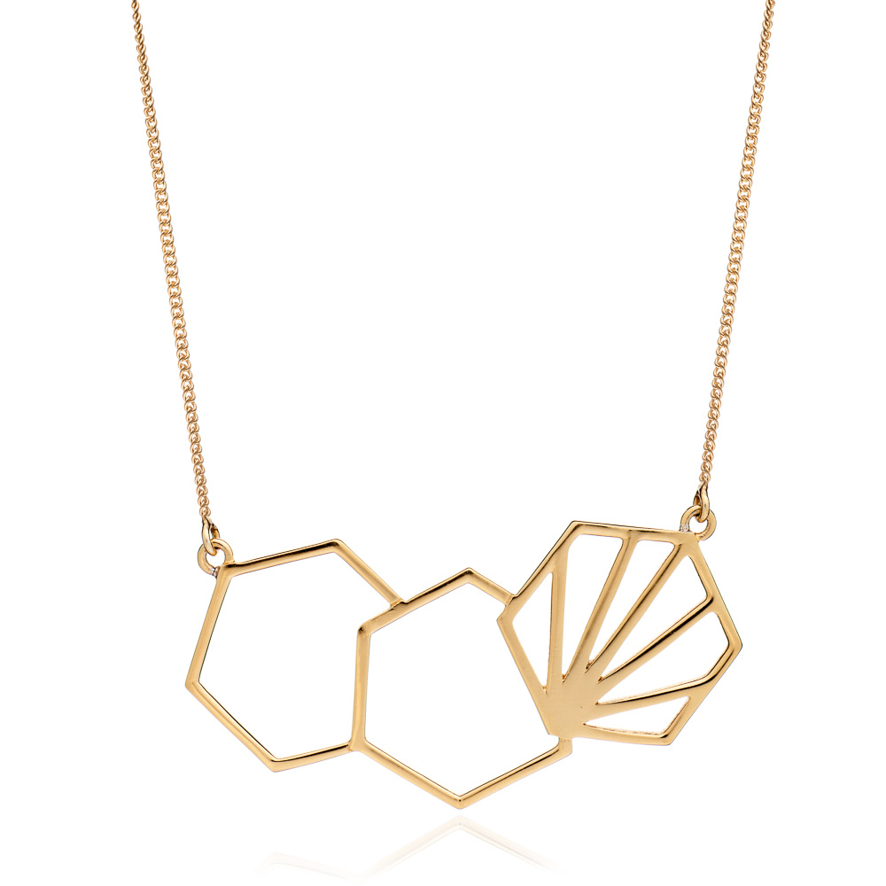 3 Hexagon Necklace - Gold